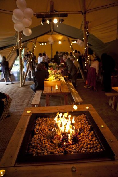 Tipi wedding, Hoscote House, tipi fire pit