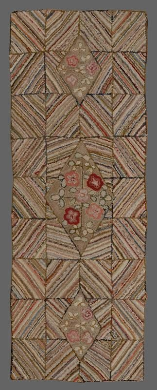 <b>Two Hooked Rugs</b> <br /> The larger with lattice and dated May 1967, the smaller with floral diamond. 4 ft. 1 in. x 7 ft. 8 1/2 in. and 2 ft. 5 in. x 6 ft. 6 in.