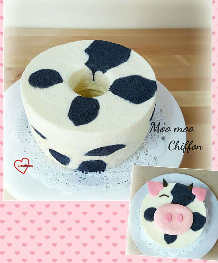 Loving Creations for You: 'Moo Moo' Chiffon Cake (Japanese Cream Cheese Chiffon & Charcoal Chiffon)