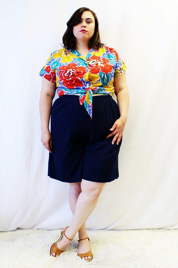 Plus Size - Vintage Navy High Waist Culotte Shorts (Size 1X) by TheCurvyElle