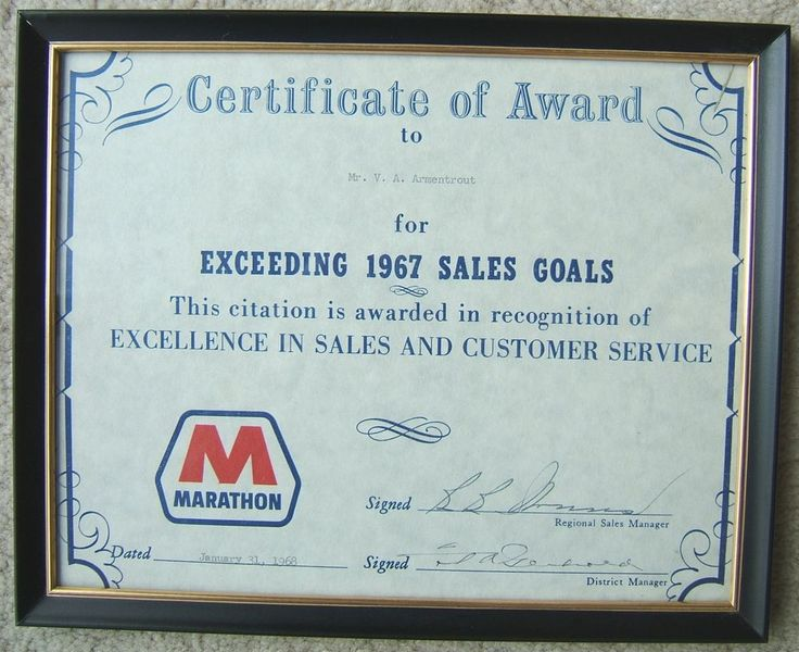 Check out Vintage MARATHON OIL COMPANY 1967 SALES GOALS Framed CERTIFICATE of AWARD  #MARATHONOIL http://www.ebay.com/itm/Vintage-MARATHON-OIL-COMPANY-1967-SALES-GOALS-Framed-CERTIFICATE-AWARD-/160956984547?