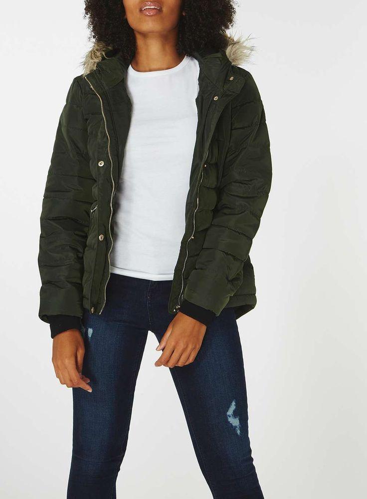 Womens Alpine Faux Fur Hood Padded Jacket- Green