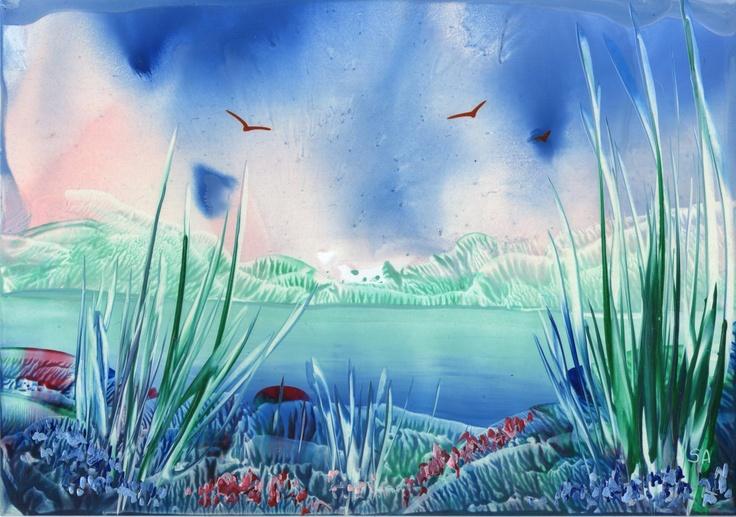evening lake one of my encaustic art paintings