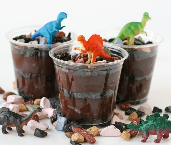 "A long standing kid favorite ""worms and dirt"":  Chocolate pudding, Oreo cookies, crushed, Gummy worms, Chocolate rocks"
