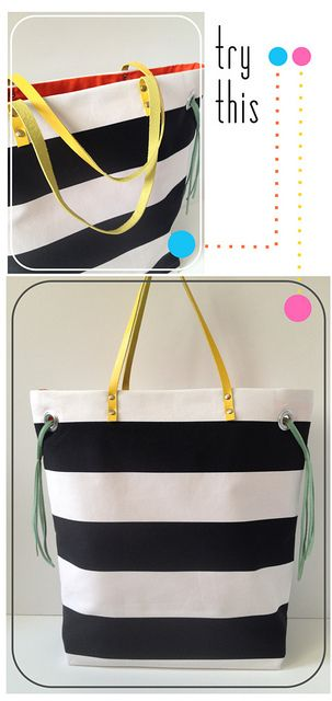 Try This - Stripe + Neon Tote by fabricpaperglue, via Flickr