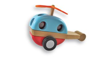 A helicopter with a felt rotor that spins when the wheels turn. Parts are joined by hidden magnets! www.discoveroo.com