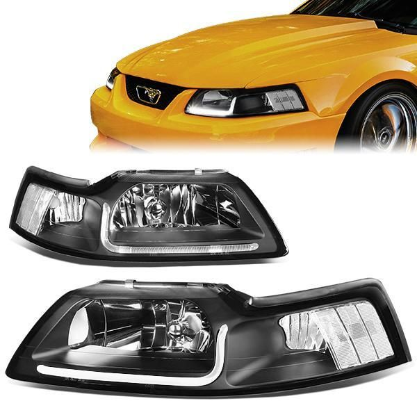 99 04 Ford Mustang Gt Led Drl Headlights Black Housing Clear Corner Ford Mustang Gt Ford Mustang Mustang Gt