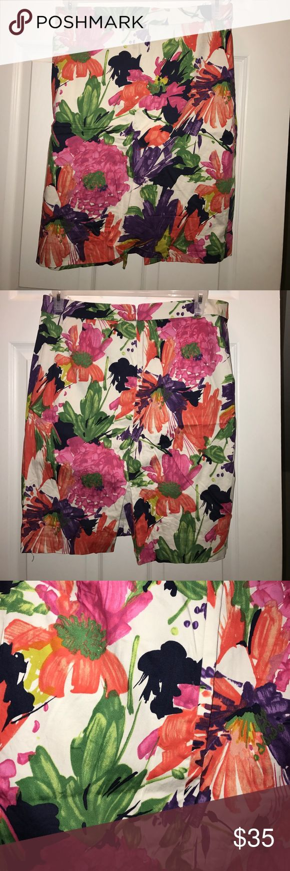 J.Crew floral pencil skirt J. Crew floral pencil skirt. Only worn a few times and in excellent used condition. Size 14. Features a back zipper and slit. Print is gorgeous. Actual J.Crew, this is not an outlet/factory piece. J. Crew Skirts