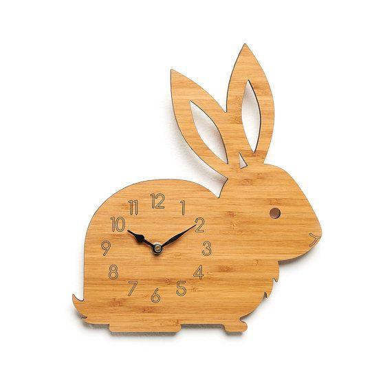 Rabbit Wall Clock - Modern Clock - Childrens Clock - laser cut by Owl & Otter
