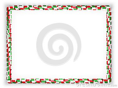 Frame and border of ribbon with the Italy flag. 3d illustration.