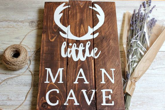 Woodland nursery decor boy, Little Man Cave Sign, Deer Antlers wall decor, Hunting Nursery Art Baby Boy nursery ideas, Baby Boy gift unique. Check out this item in my Etsy shop https://www.etsy.com/uk/listing/279459262/woodland-nursery-decor-boy-little-man