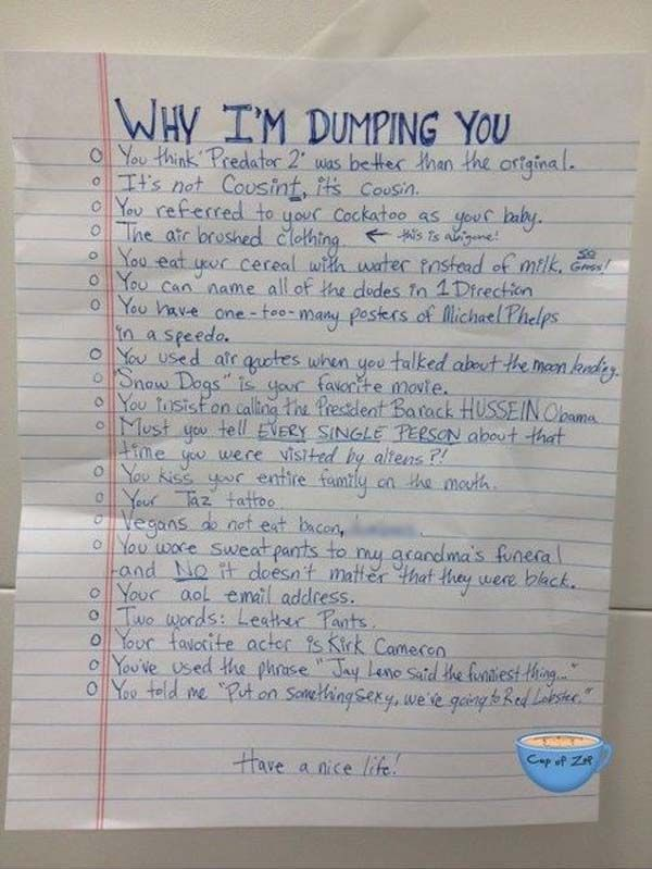 Best Breakup Letters Images On   Funny Stuff Ha Ha