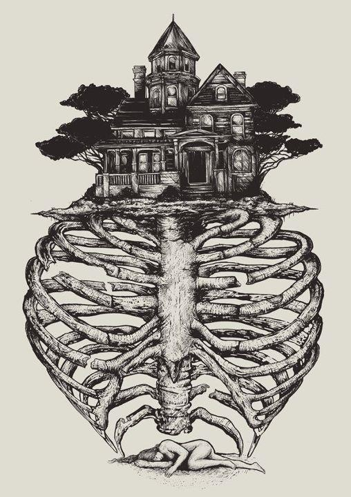 : Art Inspiration, Bones, Haunted House, Illustration, Ribs Cage, Dreams House, Artsy Fartsi, Art Drawings, Skeletons