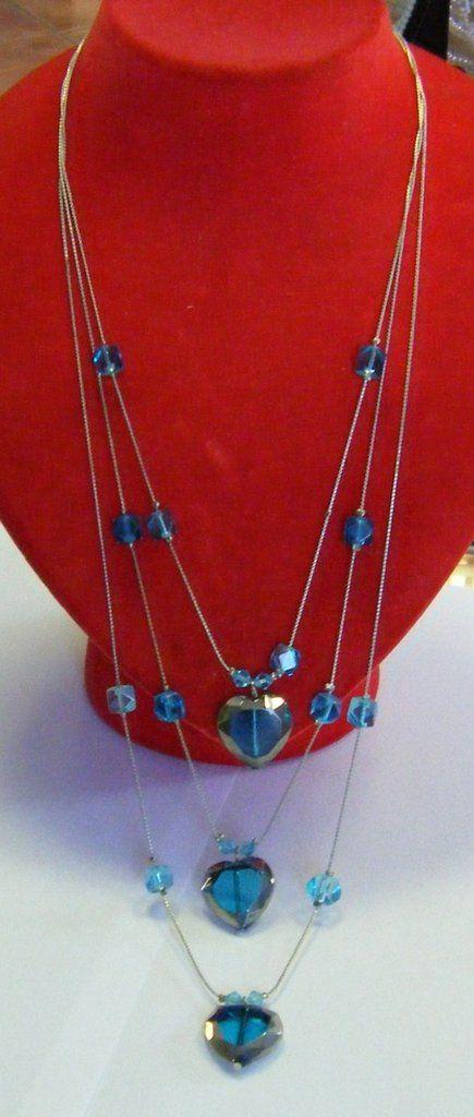 collana a 3 giri con catena e perline colore blu, by crys_e_cri, 10,00 € su misshobby.com