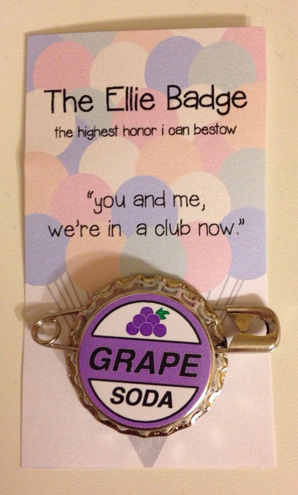 Ellie Badge Grape Soda Pin Inspired by Disney-Pixar's Up by fablefox on Etsy https://www.etsy.com/listing/207336858/ellie-badge-grape-soda-pin-inspired-by
