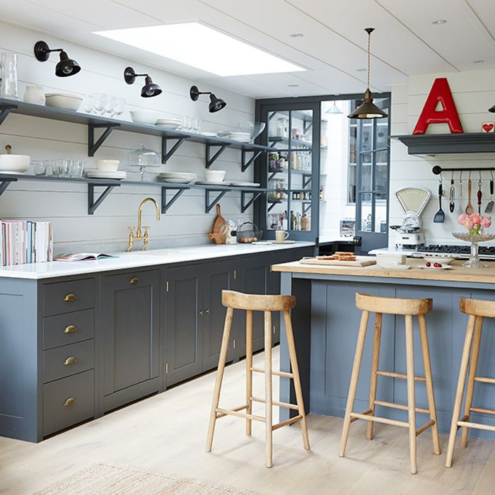 London kitchen with lights over shelves instead of cabinets | House to Home