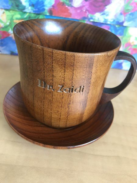 Custom Wooden Engraved Personalized Natural Wood 8 oz Coffee Mug with Matching Saucer