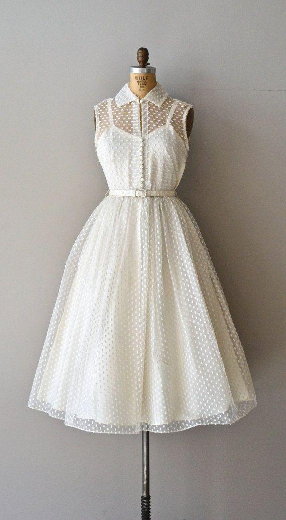 Little Dreamer wedding dress / swiss dot 50s wedding by DearGolden