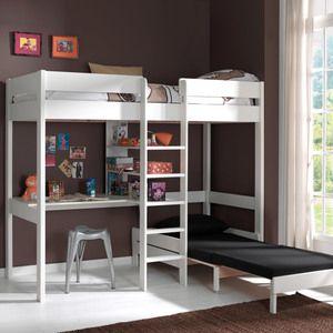Lit mezzanine en pin massif 90x200cm avec bureau & couchage d'appoint PINO