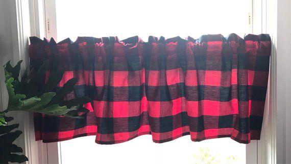 Plaid Buffalo Window Valance Red And Black Carolina Gingham Christmas Window Valance Plaid Kitche Buffalo Plaid Curtains Plaid Curtains Red Kitchen Curtains