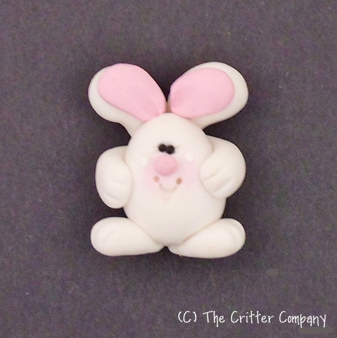 Bunny Rabbit, Horizontal Hole, Polymer Clay Bead or Bow Center by Critter Company. $3.50, via Etsy.