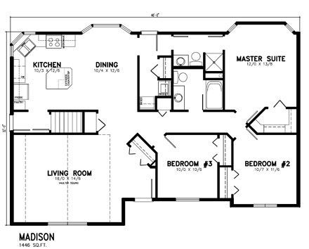 4 Bedroom House Plans Open Floor Bungalow