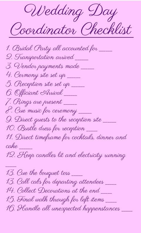 25 best ideas about wedding coordinator checklist on