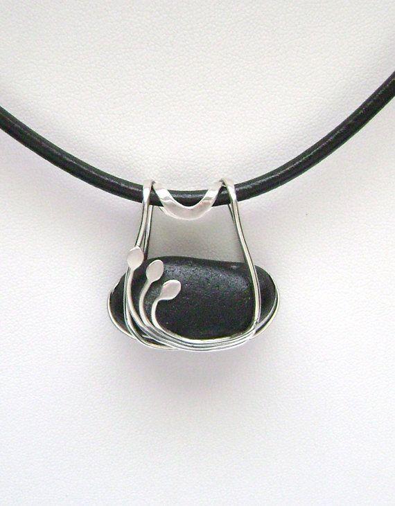 Sea Glass Jewelry - Sterling Caged Rare Black Scottish Sea Glass Necklace