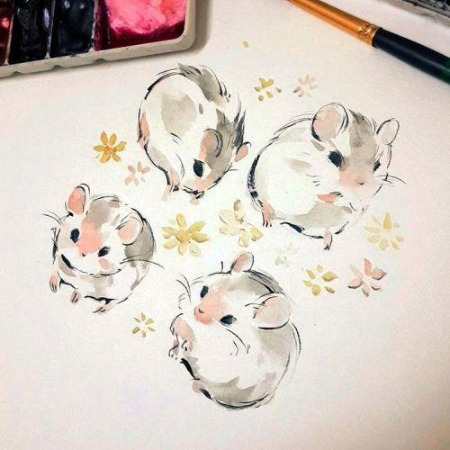 เทรดรูปแบบเร่งด่วนกับน้องนิว ช่วงนี้ต้องรื้อสกิลแล้วนะปีกใส555555 #watercolor # hamster