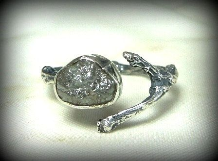 rough diamond twig engagement ring raw diamond and  by Marajoyce, $165.00