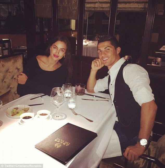 Cristiano Ronaldo celebrated his latest Real Madrid hat-trick at dinner with girlfriend Ir...