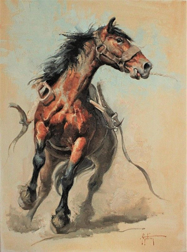 """""""With Strap and Stirrups Flyin'"""" by Abigail Gutting Oil ~ 24"""" x 18"""""""