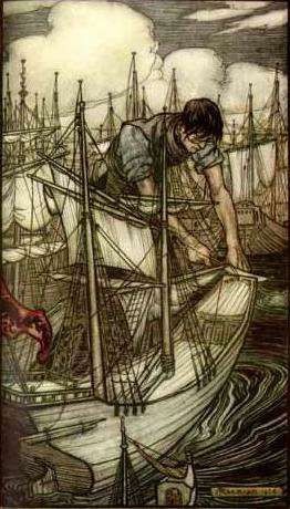 Arthur Rackham (1867–1939), English book illustrator. Gulliver's Travels, 1909