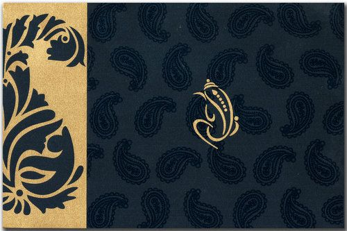 A trendy design with paisley impressions all over. The paisley in gold becomes the center of attraction. It has got contrastive inserts and envelope to match. It's awesome! Note: It can be customized as per your requirement.