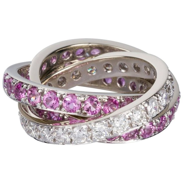 Pink Sapphire and White Diamond Three-Band Ring | From a unique collection of vintage band rings at https://www.1stdibs.com/jewelry/rings/band-rings/