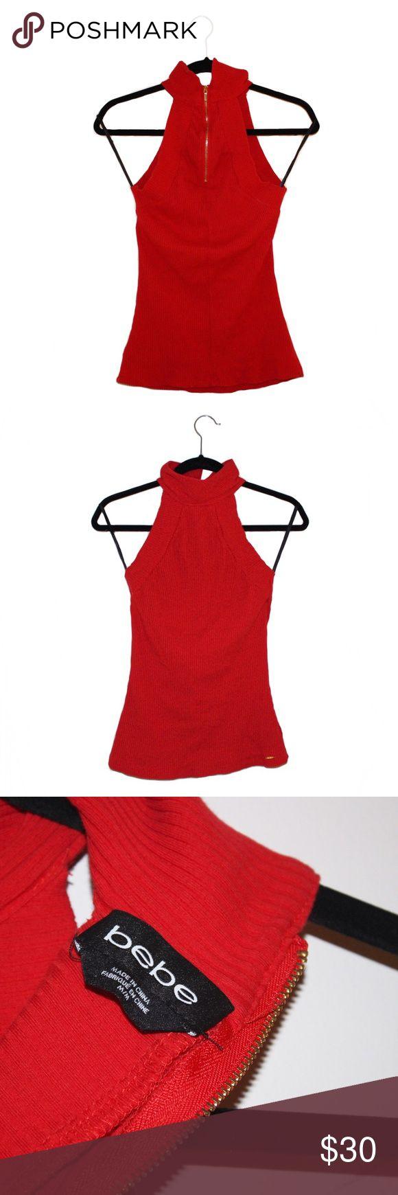 💥SALE💥Ribbed BEBE halter top High neck. Ribbed and has no visible signs of wear. bebe Tops Tank Tops