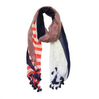 Flag Scarf in Navy/Mulberry