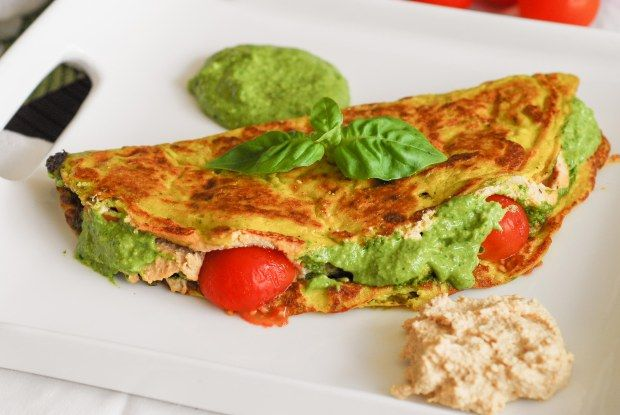 Weekend Brunch Round 22: Pesto Ricotta Omelets with Cherry Tomatoes – The Vegan Cookbook Aficionado