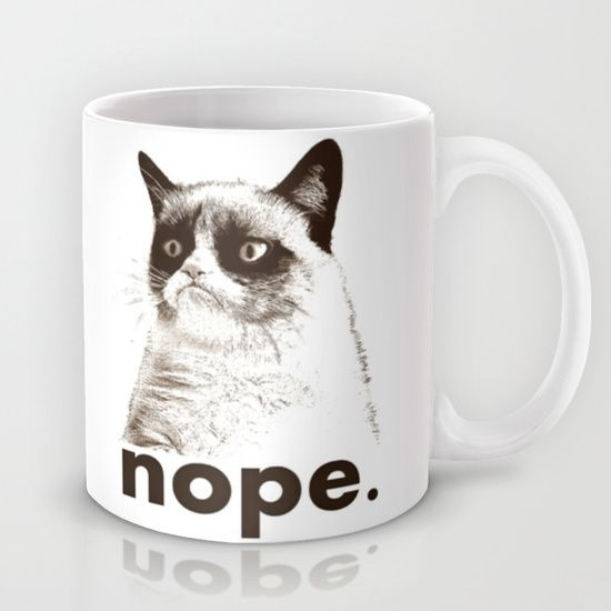 NOPE - Grumpy cat. Mug by John Medbury (LAZY J Studios) | Society6