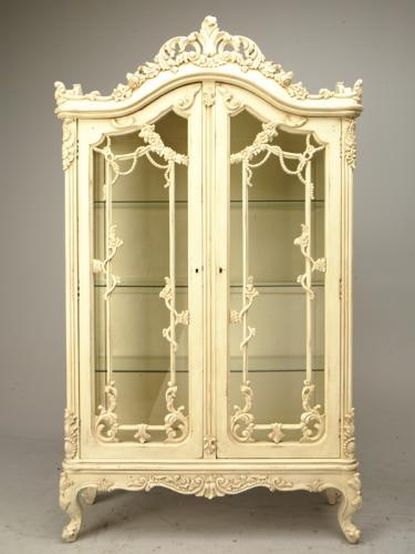 french showcase with flower carved unpainted