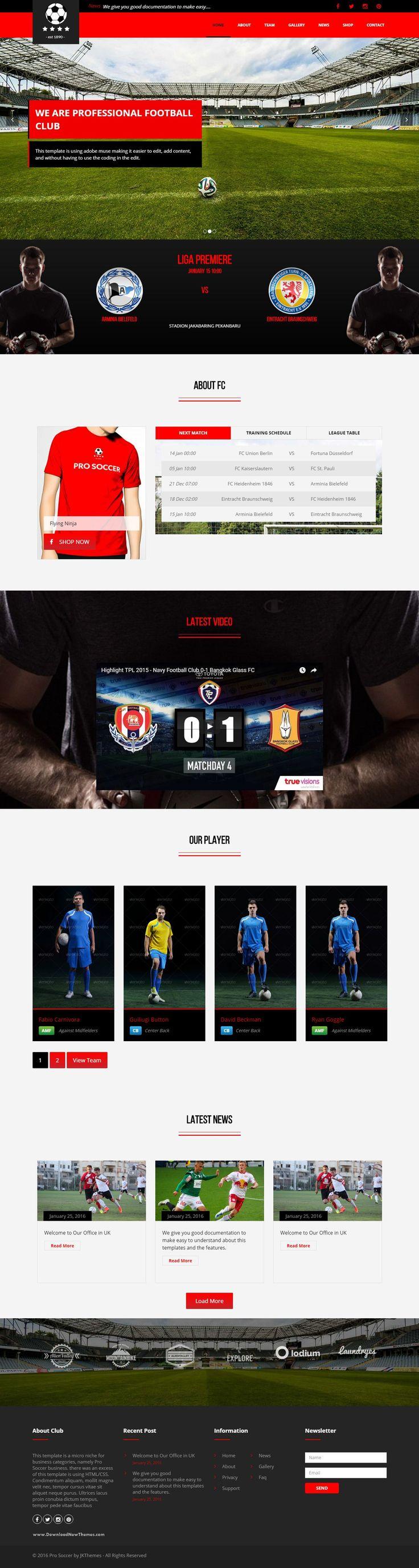 Pro Soccer Best Football Club WordPress Theme Download #soccer #sports #website