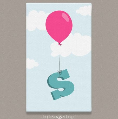 Makes a great Christmas gift! | Balloon Initial Gallery Wrapped Canvas Print | Available in 16 signature colours | Simple Sugar Design | $29.99