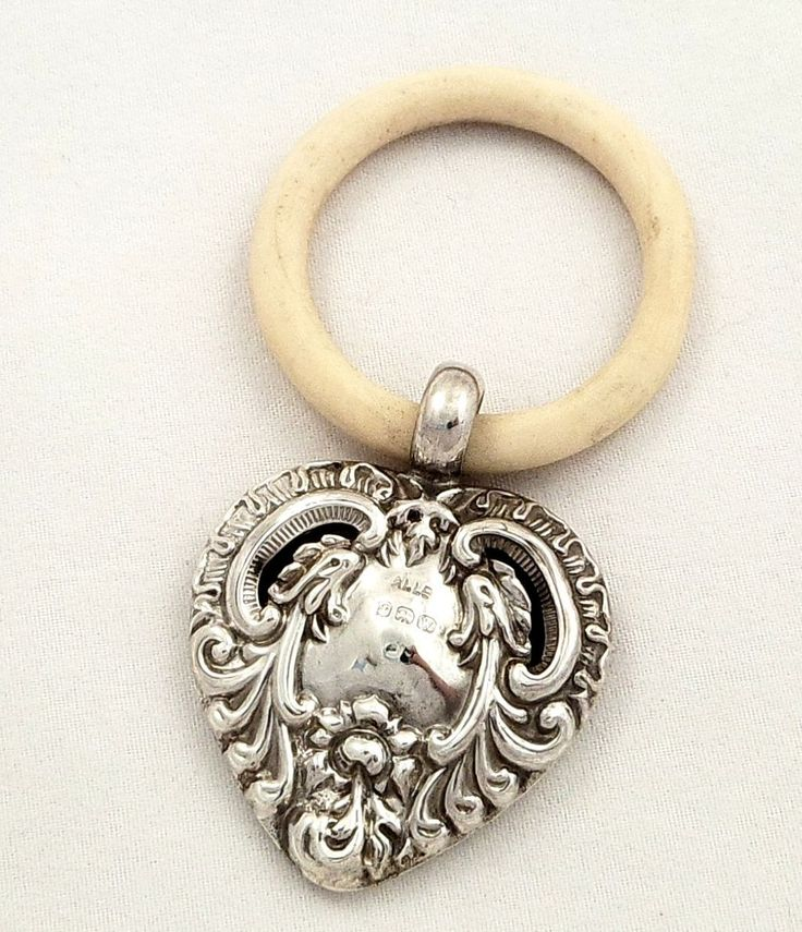Antique Sterling Silver Heart Shape Baby Rattle, 1921