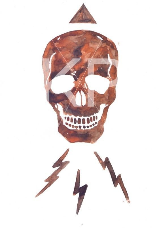 Skull watercolor - By KP