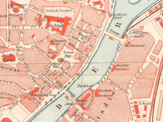 details from Szczecin / Stettin Antique City Map from 1897 by KuriosartAntique