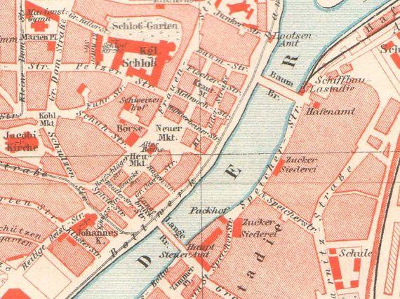 details from Szczecin / Stettin Antique City Map from 1897 by KuriosartAntique