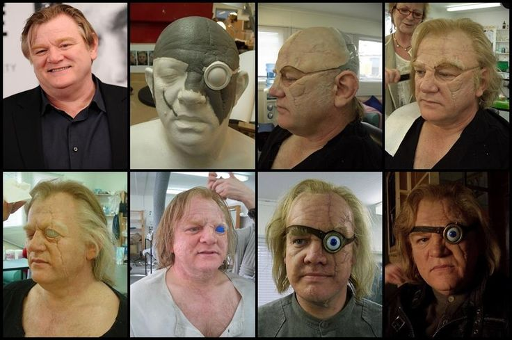 """Transformation of actor Brendan Gleeson to Alastor """"Mad-Eye"""" Moody via silicone prosthetic makeup created by key prosthetic makeup artist, Shaune Harrison (Shaune Harrison Academy) and his crew for Harry Potter and the Goblet of Fire in 2005."""