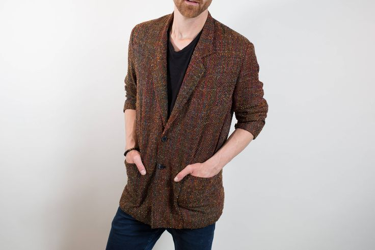 Mens Silk Sports Jacket Blazer / Vintage Joe Bananas Large Hand Woven Silk Sports Coat by PrincipalVintage on Etsy