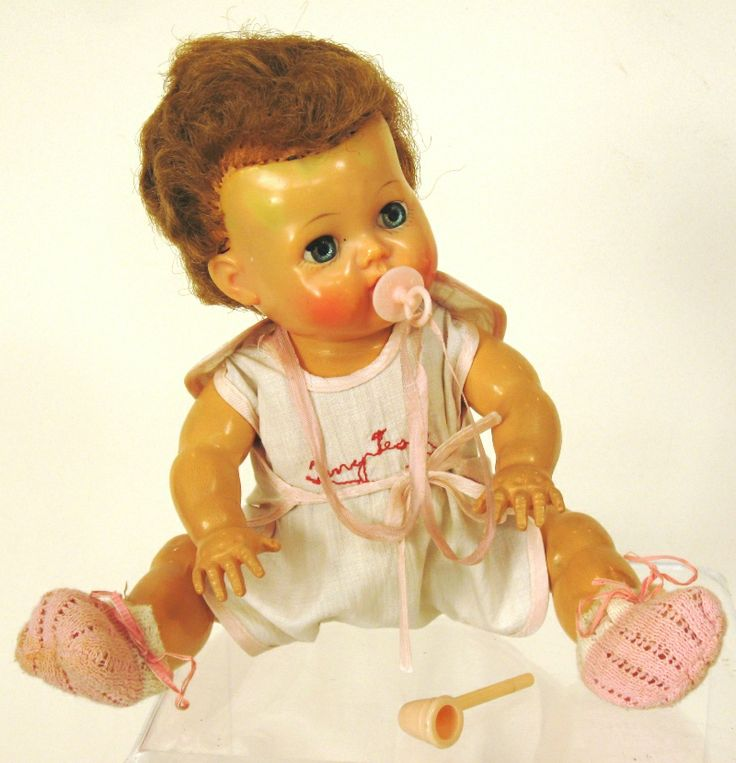 1950's jointed dolls - Tiny Tears - I had a Doll just ike this, same clothes, bubble blower, and pacifier.  I really loved that doll.  Had her for many years.