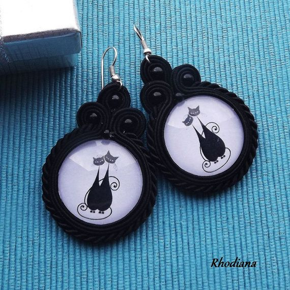 Hey, I found this really awesome Etsy listing at https://www.etsy.com/listing/244560737/black-cats-soutache-earrings